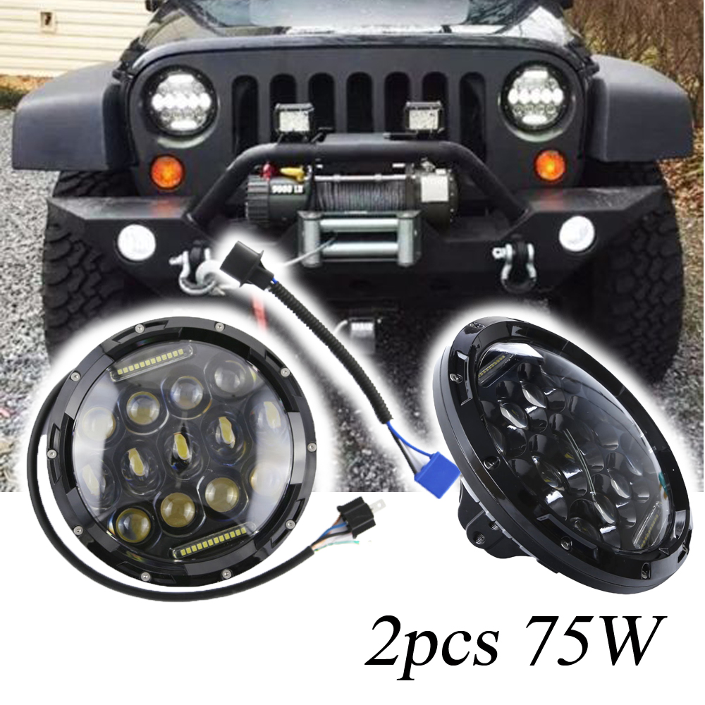 2PCS 7inch 75W Round LED Headlight 7500LM Hi/Low Beam Head Light with Bulb DRL For JEEP Wrangler JK TJ Hummer Camaro FJ Cruiser 7 inch headlight h4 motorcycle round led headlamp daymaker hi low beam head light bulb drl for harley jeep wrangler