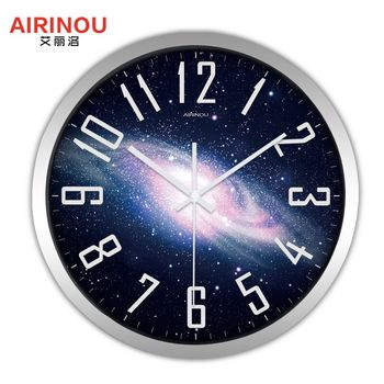 Airinou the Moon Starry Sky and Mars 3 Styles ,Glass&Metal Silent Movement Wall Clock,Children Room Museum Theme Park  Decorate 21