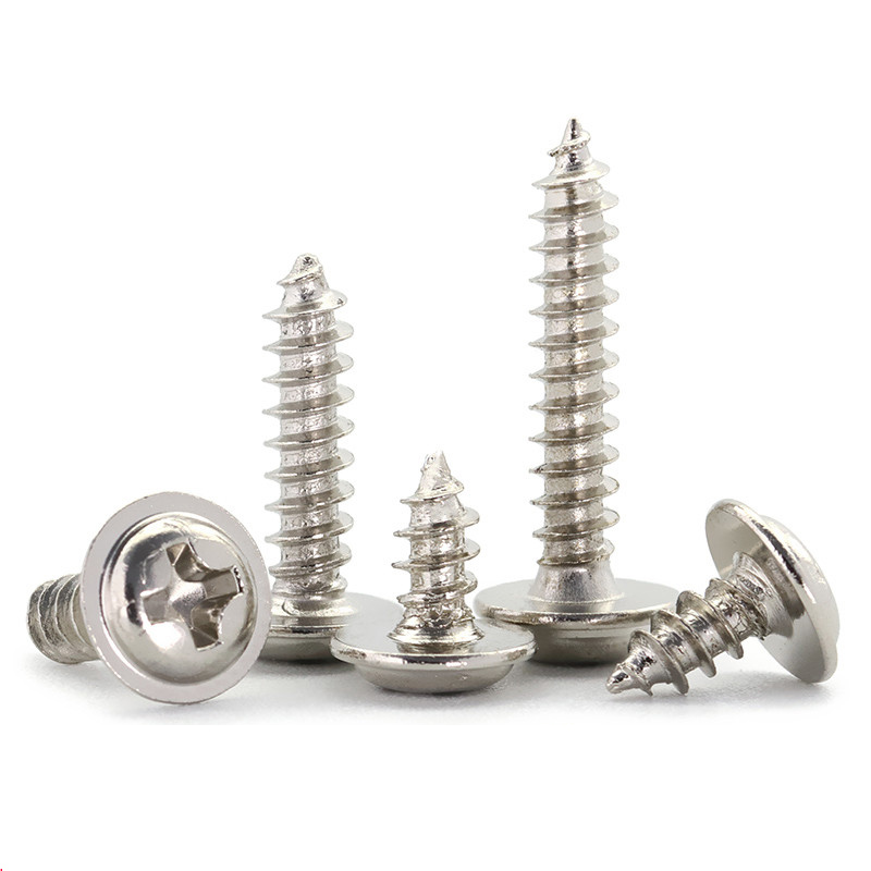 50-200Pcs M1.2-M4 PWA Nickel Plated Cross Round Head Self <font><b>Tapping</b></font> Screw With Pad Pan Head <font><b>Tapping</b></font> Screws With Washer image