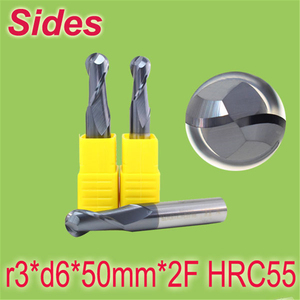 R3 * d6 * 50mm * 2F HRC55 ściernica węglika wolframu frez 2F Ballnose Endmill frez darmowa wysyłka