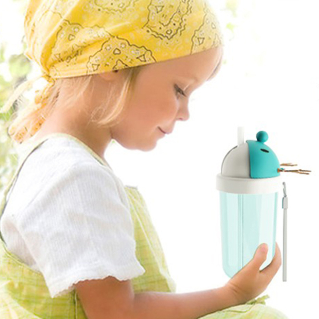 Chifre Copo de Alimentação Do Bebê Dos Desenhos Animados Animais Palha Copo Do Bebê Garrafa de Água BPA Copos Bolsa Termica Não-tóxico-livre Garrafas