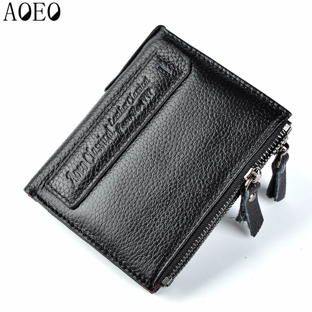AOEO Genuine Leather Wallet Men Purse Money Male Clutch Card Holder Double Coin Bags Man Slim Small Pocket Luxury Wallet for Men casual pu leather men hasp long wallet luxury money coin pochette slim portf purse card holder pocket clutch male pouch bag