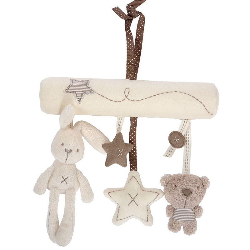 Cute Rabbit Star Shape Baby Bed Safety Seat Hanging Plush Toy Hand Bell Multifunctional Plush Crib Stroller Rattles Mobile Gift