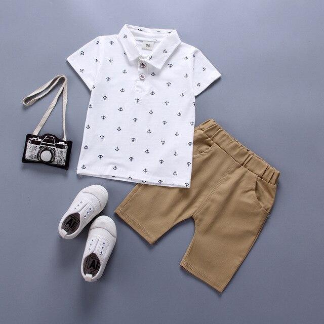 Newborn navy blue shirt and khaki short set for baby boy 1
