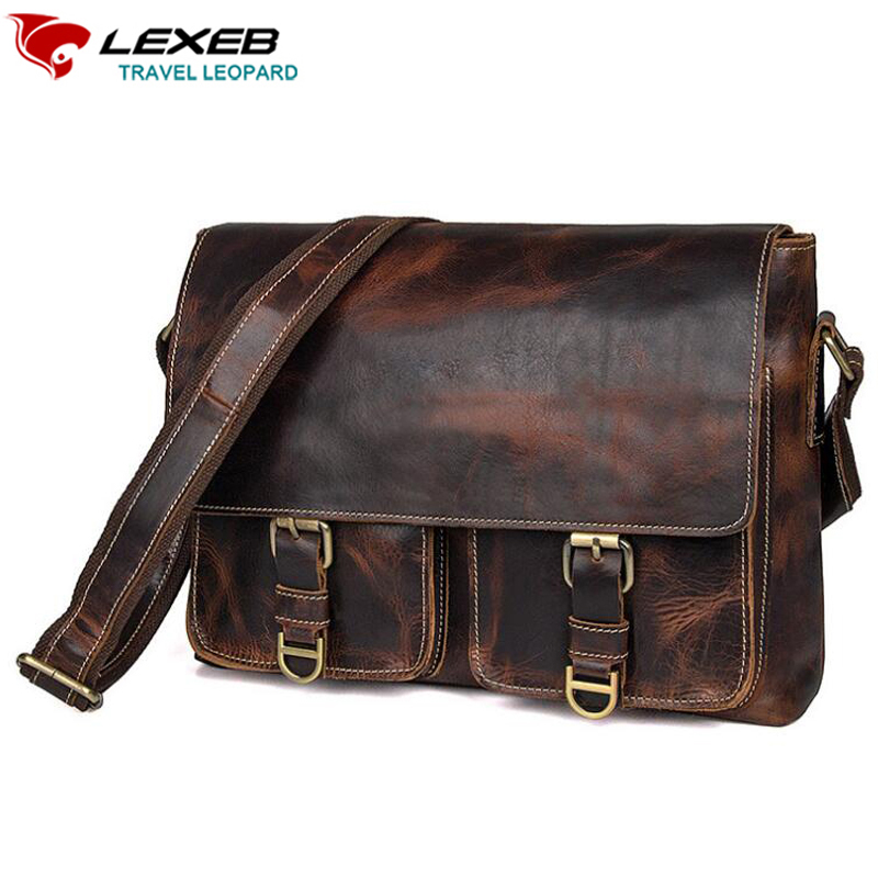 LEXEB Autumn New Mens Crazy Horse Messenger Bag Vintage Real Leather Crossbody Bags Top Grade Satchels For Boys In Chocolate