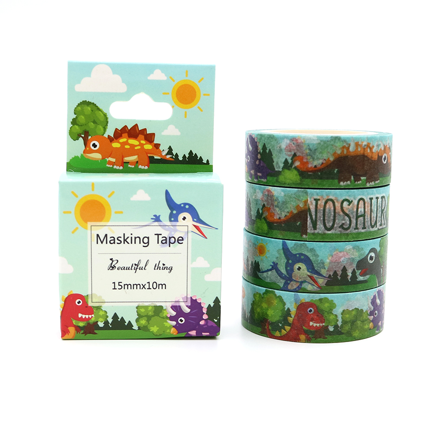 Box Package Kawaii Dinosaur Washi Tape Excellent Quality Colorful Paper Masking Tape DIY Decorative Tapes 10m*15mm