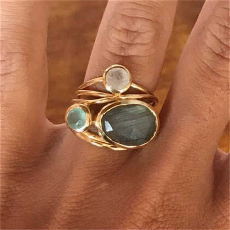 BOAKO Size 6-10 Vintage Jewelry Retro Three Round Colorful Opal Rings for Women Gold Color Finger Rings Bijoux