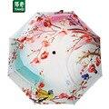 98 СМ * 8 ребер 3D Печати Персик Blossomes Зонтик Портативный Солнечный Дождливый 3 Складные Зонты для Женщин