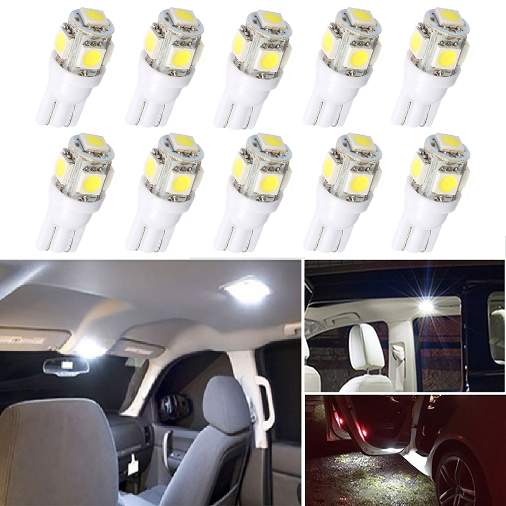 10Pcs <font><b>LED</b></font> T10 W5W Bulb Car Interior Readling <font><b>Lights</b></font> For <font><b>Peugeot</b></font> <font><b>307</b></font> 206 308 407 207 406 208 3008 2008 508 408 306 301 106 107 image