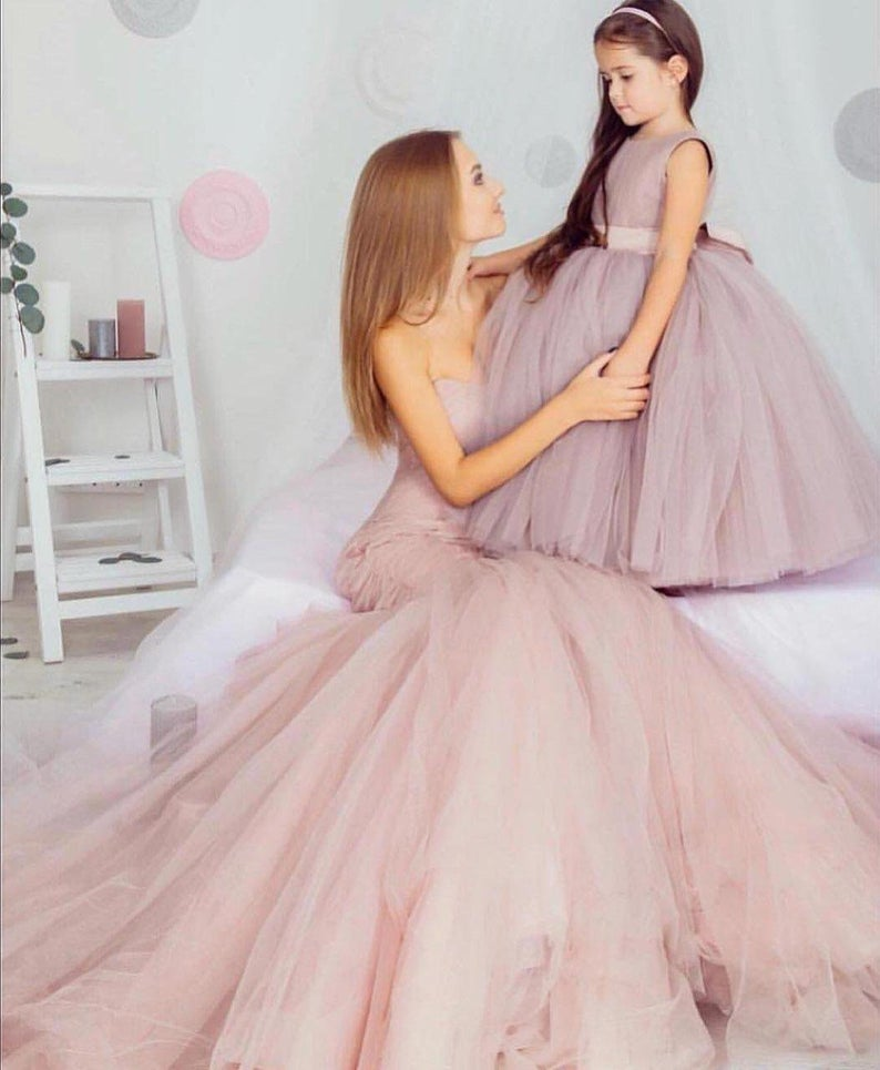 2019 PrincessDusty Rose Matching Photo Pageant Gowns Long Evening Daughter Mother Matching Tulle Photography Dress Flower Girls