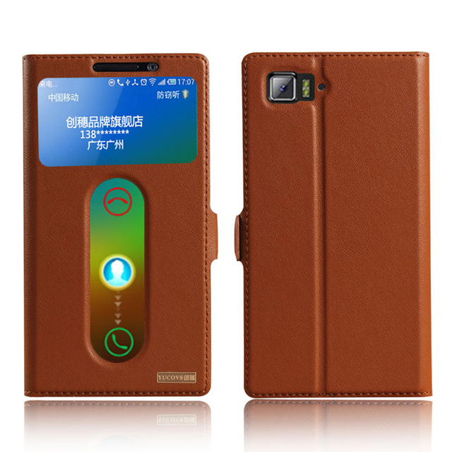 Lujo vista ventana genuino cubierta de cuero del caso del soporte para lenovo vibe z2 pro k920 teléfono cubierta de la bolsa