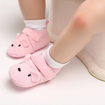 2019 Infant Toddler Baby Knit Cotton Cartoon Shoes Newborn Boy Girl Cartoon First Walkers Shoes 0-18M
