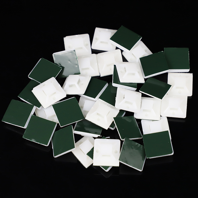 20//25//30//40mm White Cable Tie Mounts Clip Rectangle Wire Clamp Self-adhesive