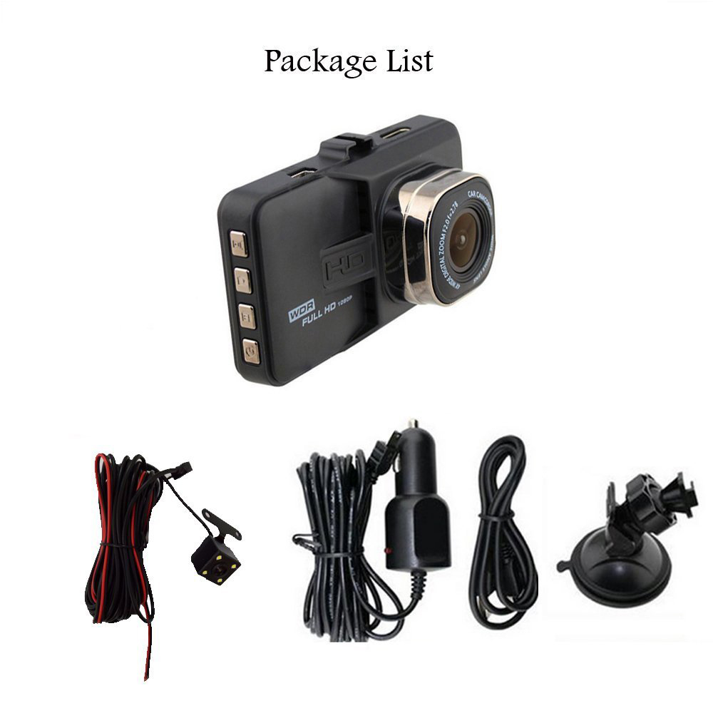 2018 3 Inch Dash Cam Car DVR Auto Dual Lens1080P Video Recorder Registrator with Backup Rearview Camera Cam Corder Display