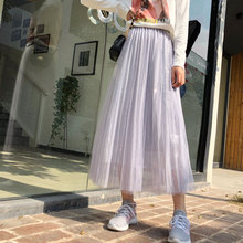 YICIYA purple skirt for women Mesh tulle tutu pleated tule rok long ankle length 2019 summer hot skirts plus size casual clothes