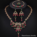 Dubai Gold Plated Jewellry Created Ruby Emerald Crystal Statement Necklace Earrings 4 Piece Jewelry Sets For Wedding JS183