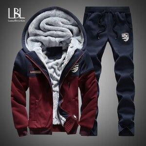 2019 Men Warm Sets Fashion Sporting Thick Suit Patchwork Zipper Hooded Sweatshirt +Sweatpants Mens 2 Pieces Sets Slim Tracksuit