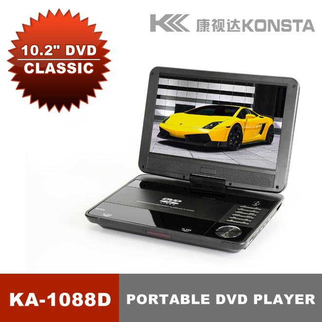 Leadstar,10.2'' portable 3D DVD player(16:9) with 3D glasses with USB/SD/MMC/MS/AV input and output function KA-1088D  free shipping to ru 7 inch portable dvd player with game and tv function game function support sd ms mmc card