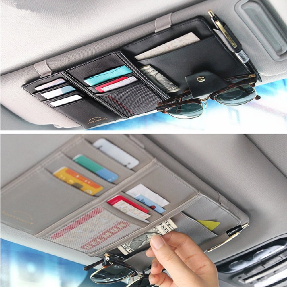 Car Styling Visor Organizer Auto Sun Visor Storage Pouch Car Organizer Sunglasses Holder Card Organizer Ticket Pocket Pen Holder