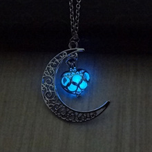 Glow In The Dark Black Moon And Heart Necklace