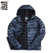 TIGER FORCE 2017 Brand Men Fashion Cotton Padded Jacket Winter Autumn Polyester Coat Camouflage European Size Free Shipping
