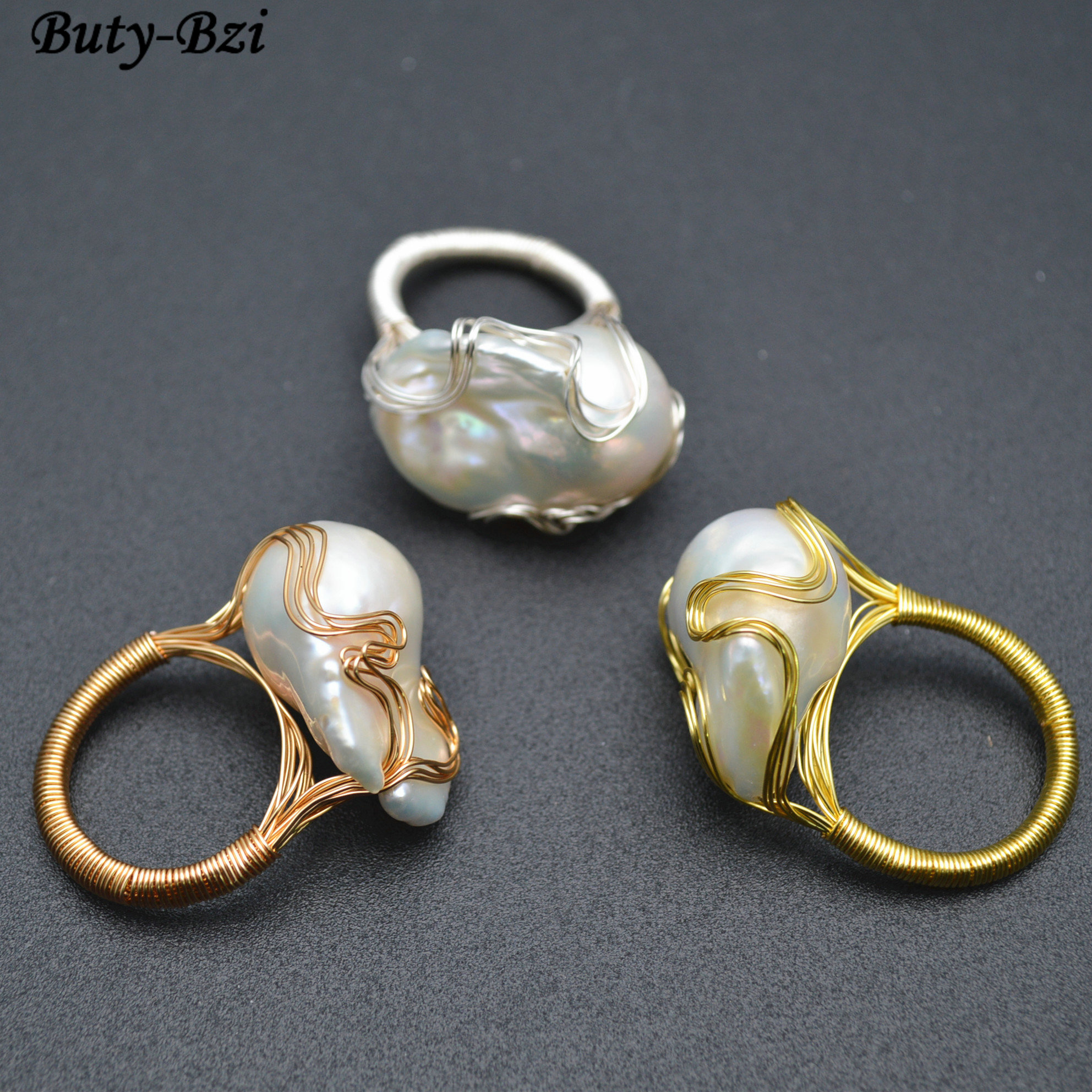 1pc High Quality Handmade Natural Fresh Water White Pearl Big Baroque Beads Wire Wrapped Rings Fashion Woman Party Jewelry