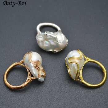 1pc High Quality Handmade Natural Fresh Water White Pearl Big Baroque Beads Wire Wrapped Rings Fashion Woman Party Jewelry leather