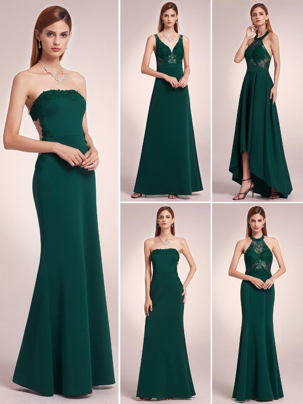 be32627f4fb6 2019 Vestito Verde Smeraldo Elegante Lunghi Abiti Da Sera Mai Abbastanza  EP07187DG delle Donne Del Merletto Verde Senza Spalline Formale Da Sera  Abiti Del ...