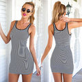 Summer Womens Ladies Sleeveless Party Mini Dress Casual Slim Vest Dress Bodycon