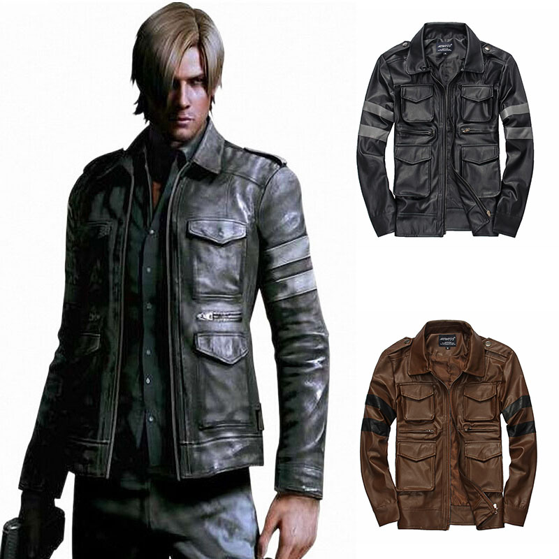 2019 New Men's Fashion Leather Cosplay Jackets Casual Long Sleeved Motorcycle Leather Jacket Slim Fit Men's Winter Coats
