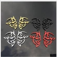 2 ADET Araba Styling 4 Renkler Krom Metal 3D Hellcat Çıkartması Amblem Arka Rozeti Sticker dodge challenger Şarj Ram chrysler Çizme
