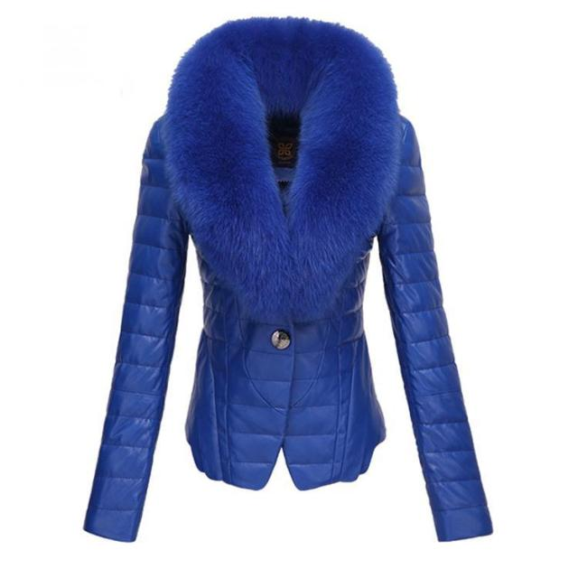 Free Shipping Royal Blue Short PU Women Leather Jacket Fur Collar Down Coat Winter Ladies Outerwear Clothes Plus Size WC165