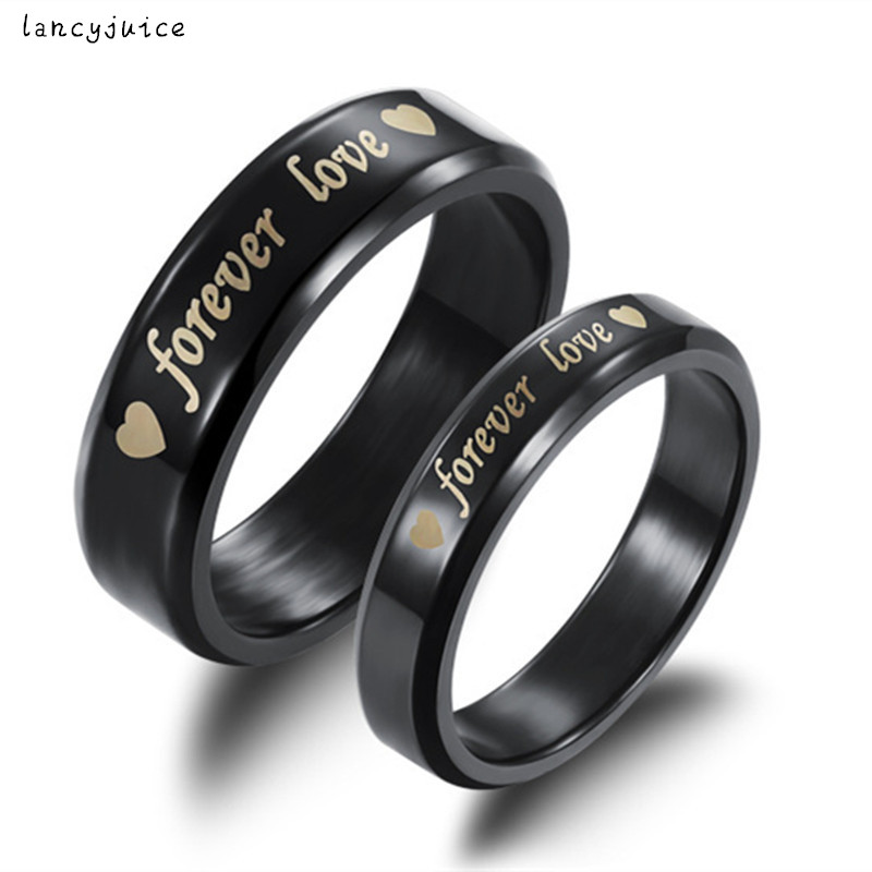 forever love couple ring new sunshine jewelry store rings accessories black titanium personality free shipping - Wedding Ring Stores