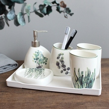Nordic grüne pflanze keramik sechs stück bad produkte Einfache fünf stück hochzeit bad set Bad keramik set melamin tablett