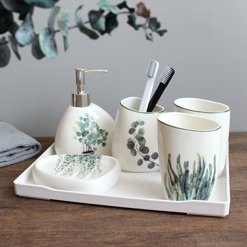 Nordic green plant ceramic six piece bathroom products Simple five piece wedding bath set Bathroom ceramic set melamine tray