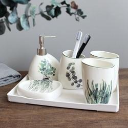 Planta verde nórdica de cerámica de seis piezas productos de baño Simple de cinco piezas de baño de boda juego de cerámica para baño bandeja de melamina