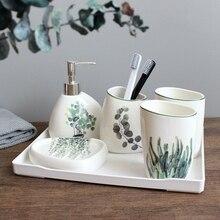 Skandynawski zielony roślina ceramiczna sześcioczęściowa łazienka produkty prosty pięcioczęściowy zestaw do kąpieli ślubnych ceramiczne do łazienki zestaw pojemnik z melaminy