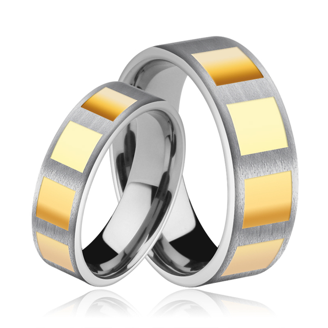 Couple 1PCS Gold Plating Mens Womens Tungsten Carbide Wedding Band