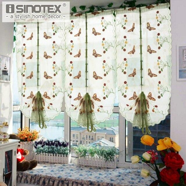 1 шт. пастырской тюль римская вышитые само для кухня гостиная окна спальни занавес скрининга бабочка