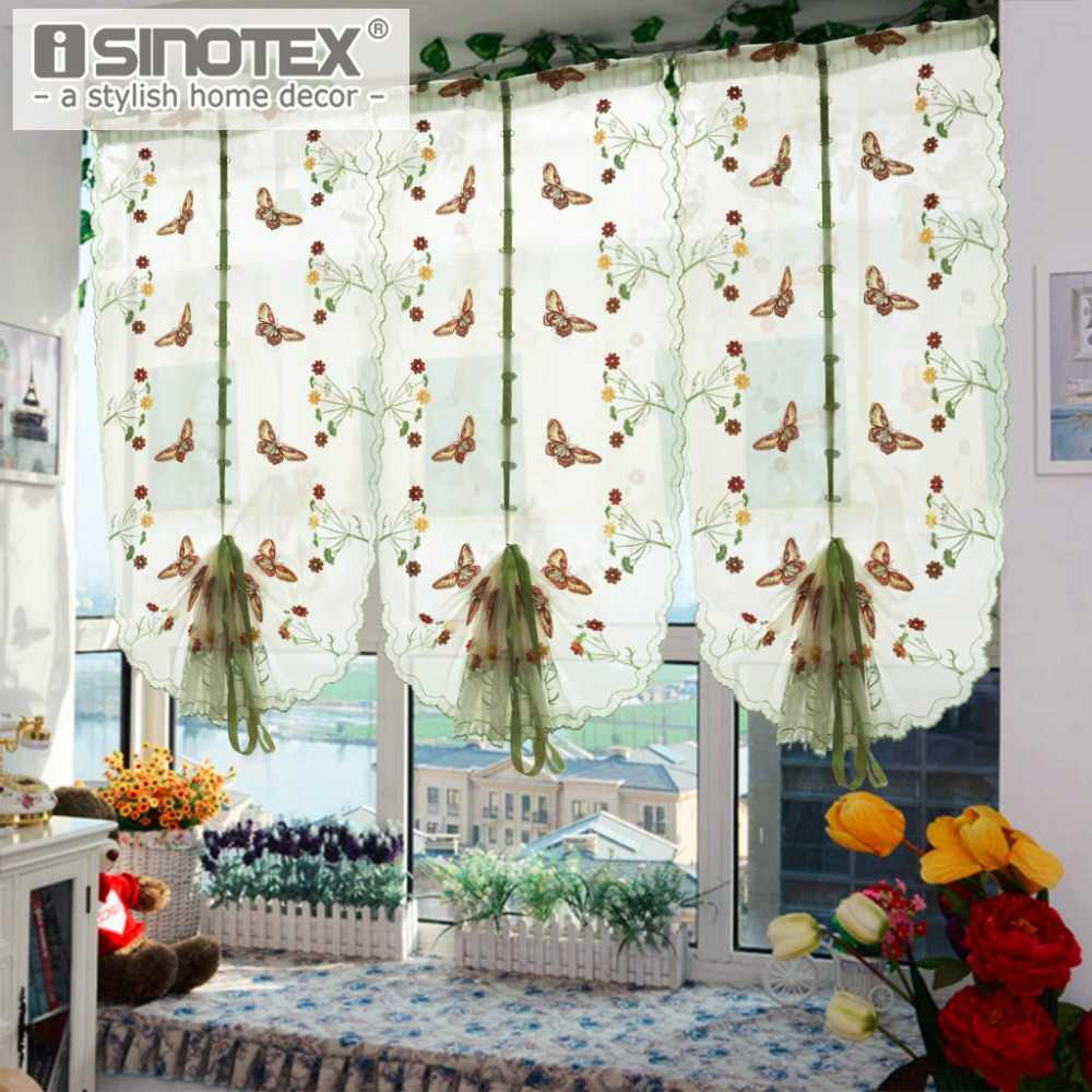 1 Pcs Pastoral Tulle Window Roman Curtain Embroidered Sheer For