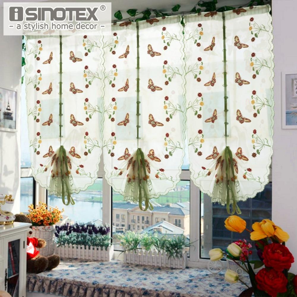 1 STÜCKE Pastoralen Tüll Fenster Römischen Vorhang Bestickt Sheer Für Küche Wohnzimmer Schlafzimmer Fenster Vorhang Screening Schmetterling
