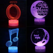Moon Ring Colorful LED 3D Visual Night Light Creative Table Light Novelty Illusion Lamp Lover Valentine Birthday Gift Souvenir 3d visual bulb optical illusion colorful led lamp touch romantic holiday night light love heart wedding valentine day gift