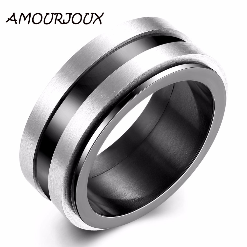 AMOURJOUX Fashion Black Spinner Silver Rings For Women Men 316L Stainless Steel Wedding