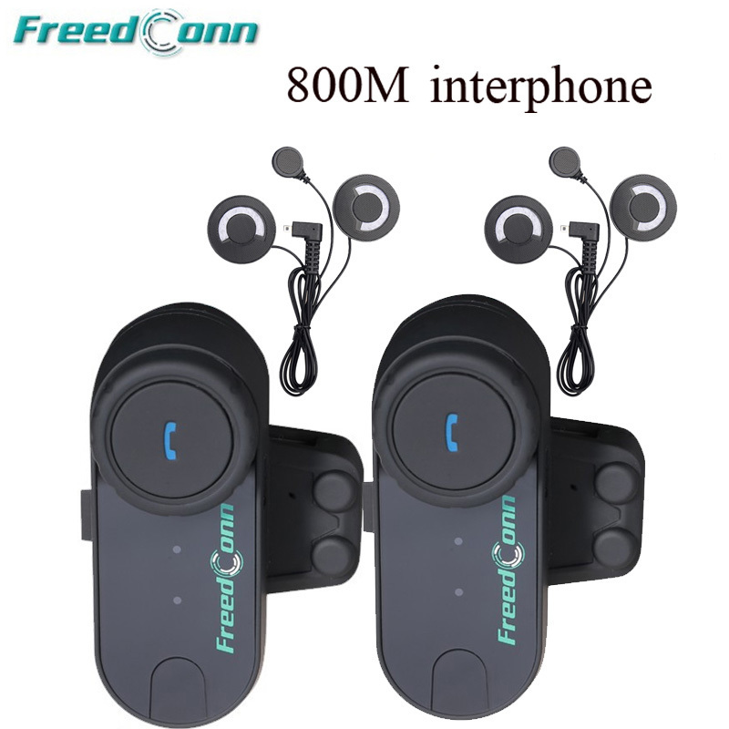 FreedConn 2pcs 800M Interphone Bluetooth Motorcycle Helmet Headset Intercom Talkie With FM Radio For Full Face Helmet