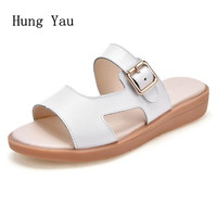 Women Sandals 2018 Summer Shoes Woman Flip Flops Wedges Fashion Leather Platform Female Slides Ladies Shoes
