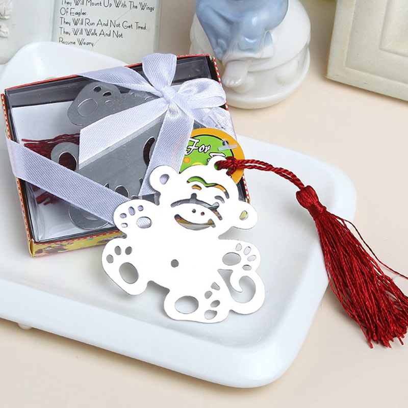 100pcs/lot NEW Wedding Gifts Jungle Critters Collection Monkey Bookmark with Tassel Metal Book Holder Baby Shower Favors