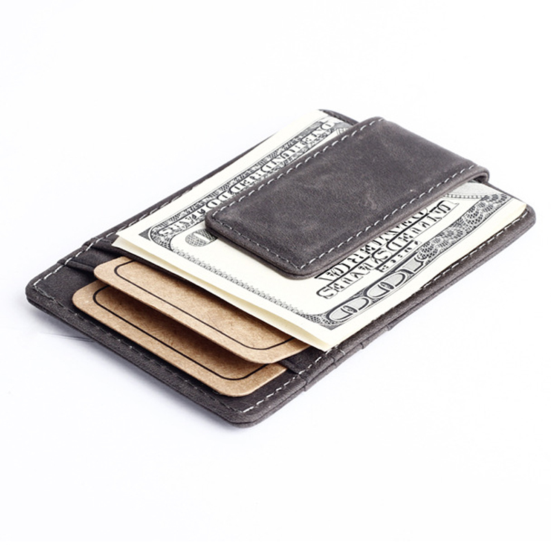 New arrival Vintage Nubuck Genuine leather Men money clip wallet with card slots simple designer magnet clamp purse for male