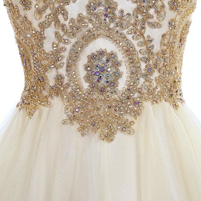 Elegant 2019 Champagne Tulle Short Prom Dresses Sweetheart Neck Sleeveless Gown vestidos de gala In Stock 6