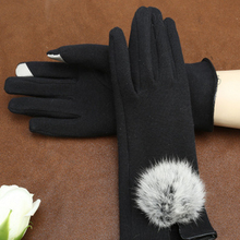 Fahion Women Winter Elegant Cotton Gloves Real Rabbit Fur Pompom Glove Touch Screen Drivers Mittens