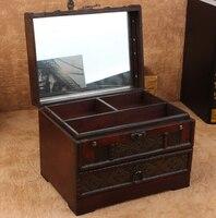 wooden jewelry box with lock pattern Toilet case Desktop finishing box storage box princess storage box wooden